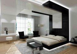 una de las formas para decorar la habitación con una cama en el centro y las paredes adornadas